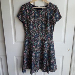 J Crew Floral Short Sleeve Flutter Dress Size 4